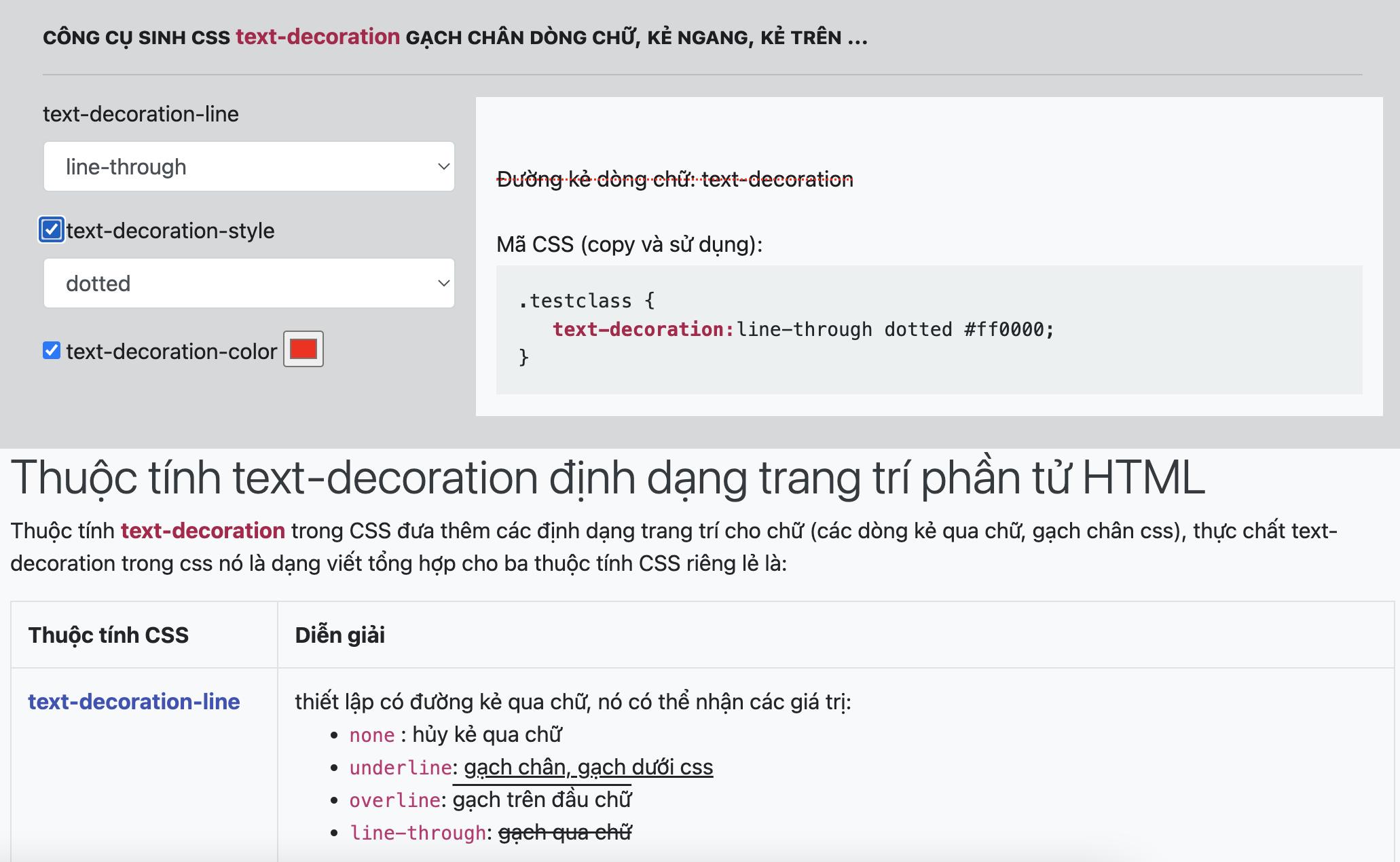 Thuộc tính text-decoration và text-indent CSS