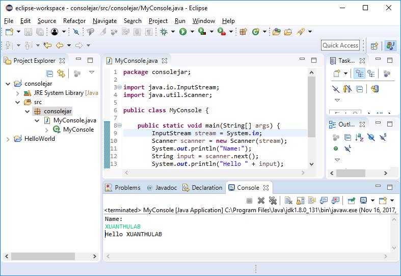 Sử dụng Console input và output trong Java