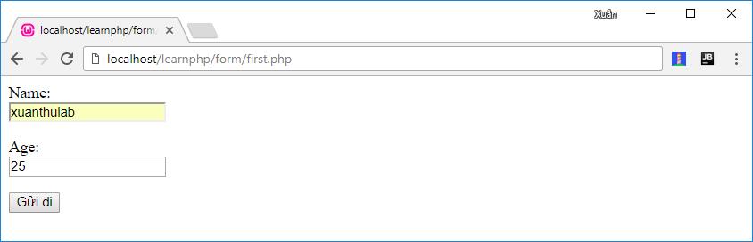 Sử dụng Form, đọc dữ liệu gửi đến từ Form với PHP